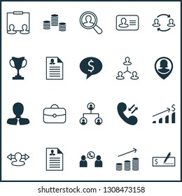 Hr icons set with partnership, curriculum vitae, administrator and other manager elements. Isolated vector illustration hr icons.