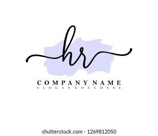 HR Initial handwriting logo vector