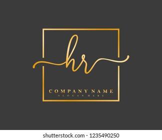 HR Initial handwriting square minimalist logo vector