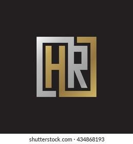 HR initial letters looping linked square elegant logo golden silver black background