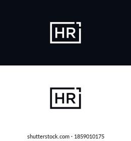 hr initial square logo design. square frame logo vector