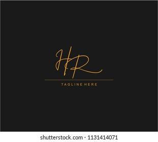 HR Letter Logo Manual Elegant Minimalist Signature