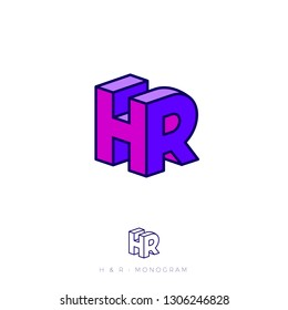 HR logo. H and R letters in block. Human Resources logo. Multi Colored emblem like 3D. Flat network, web icon.