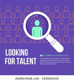 HR looking for a employee in the crowd with a magnifying glass