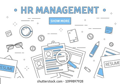 HR management concept line illustration. Workplace with documents.
