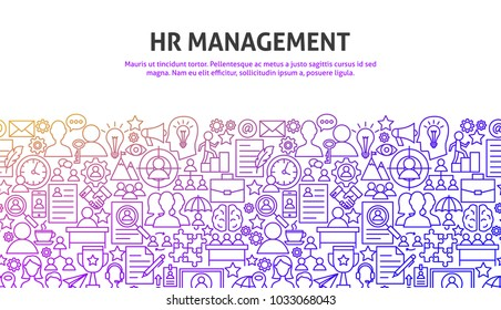 HR Management Concept. Vector Illustration of Line Web Design. Banner Template.
