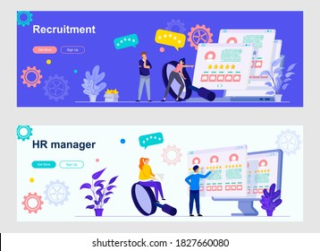 HR management landing page with people characters. Recruitment research, staff headhunting web banners. HR manager evaluating potential job candidates vector illustration great for social media cover.