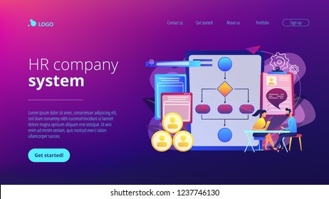 HR manager with employee at interview and business flow chart. Employee assessment software, HR company system, employee check programme concept. Website vibrant violet landing web page template.