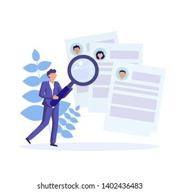 HR manager make review of employees of company. Choise of candidates in job interview process. Recruitment agency. Vector concept flat illustration.