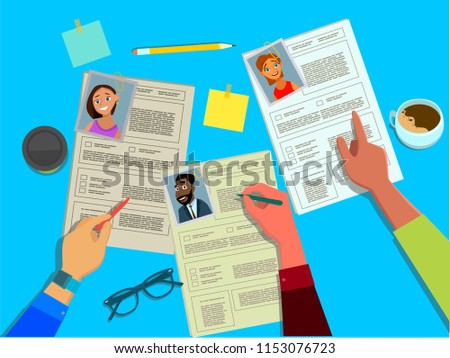 HR Manager Reviews Resumes Candidates Jobs Stock Vector Royalty