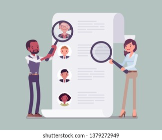 HR managers searching for employee. Male and female workers of recruiting service with magnifying glass looking for best candidate cv, recruitment agency trying to find new talent. Vector illustration