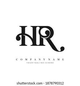 HR Minimal Luxury Initial Logo vector.
