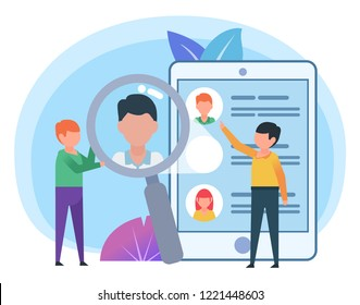 HR, personnel recruiting, hiring concept. Small people search people resumes. Poster for web page, banner, social media, presentation. Flat design vector illustration