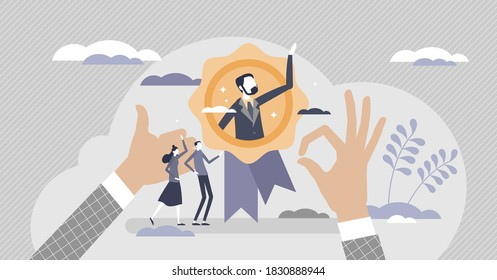 HR recognition as best candidate reputation from recommendations tiny person concept. Symbolic popular professional with outstanding results for headhunting and hiring choice scene vector illustration