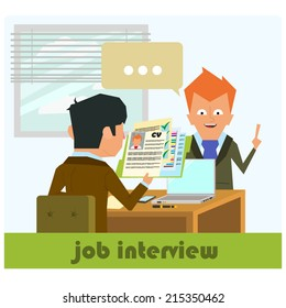 HR recruitment. interview with the candidate positions. job interview. vector illustration in a flat style.
