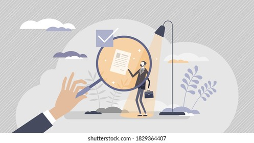 HR recruitment vacancy job searching for work employment hiring tiny person concept. Professional candidate review under spotlight and experience research for employee and labor vector illustration.