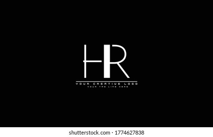 HR RH abstract vector logo monogram template