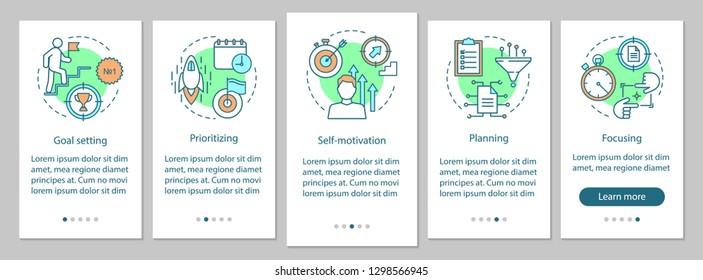 HR skills onboarding mobile app page screen vector template. Purposefulness. Employee qualities walkthrough website steps. Goal setting, planning. UX, UI, GUI smartphone interface concept