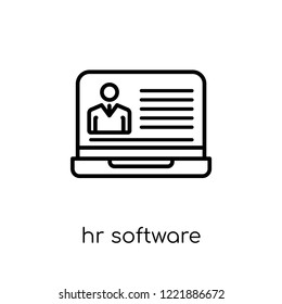 hr software icon. Trendy modern flat linear vector hr software icon on white background from thin line general collection, editable outline stroke vector illustration