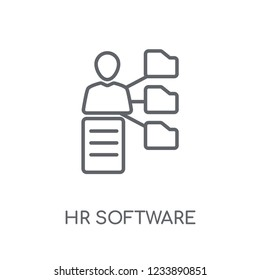 hr software linear icon. Modern outline hr software logo concept on white background from General collection. Suitable for use on web apps, mobile apps and print media.