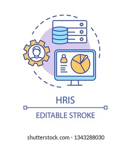 HRIS concept icon. HR software idea thin line illustration. Human resource information system. Storing employee data. Recruitment process. ERP program. Vector isolated outline drawing. Editable stroke
