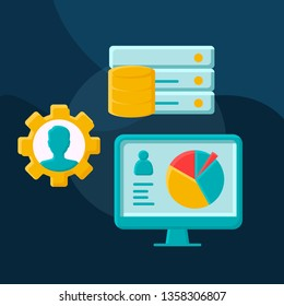 HRIS flat concept vector icon.  HR software idea cartoon color illustrations set. Storing employee data. ERP program. Human resources information system. Isolated graphic design element