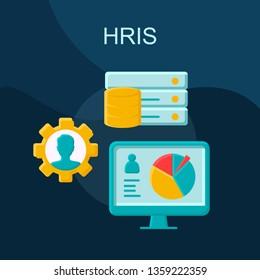 HRIS flat concept vector icon.  HR software idea cartoon color illustrations set. Storing employee data. Recruitment process. ERP program. Human resources.  Isolated graphic design element