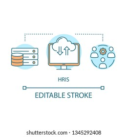 HRIS program concept icon. Recruiting software idea thin line illustration. Human resource information system. Employee data. HR resource. ERP program. Vector isolated outline drawing. Editable stroke