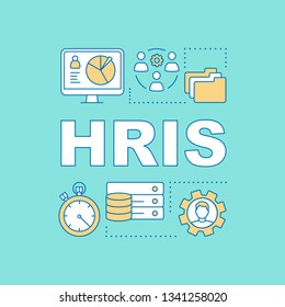 HRIS word concepts banner. Recruiting software. Storing employee data. HR resource. ERP program. Presentation, website. Isolated lettering typography idea, linear icons. Vector outline illustration