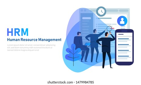 HRM Human Resource Management. HRIS Software and system managing company employee. Vector illustration.