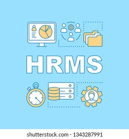 HRMS word concepts banner. Personnel transaction of government employees. Storing worker data. Presentation, website. Isolated lettering typography idea with linear icons. Vector outline illustration