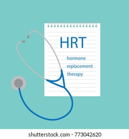 HRT Hormone Replacement Therapy written in notebook- vector illustration