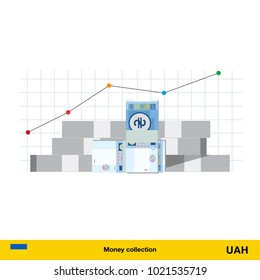 hryvnia banknote. Growth of financial and economy concept. vector illustration.