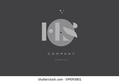 hs h s  grey modern stylish alphabet dot dots eps company letter logo design vector icon template