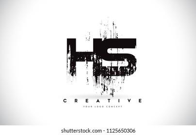 HS H S Grunge Brush Letter Logo Design in Black Colors. Creative Brush Letters Vector Illustration.