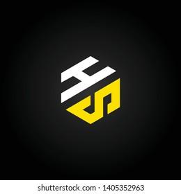 HS or H S letter alphabet logo design in vector format.