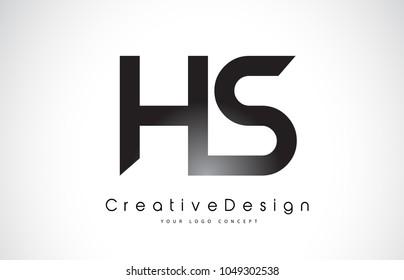 HS H S Letter Logo Design in Black Colors. Creative Modern Letters Vector Icon Logo Illustration.