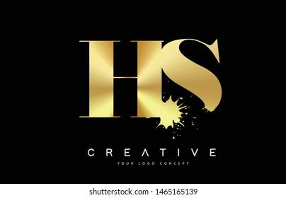 HS H S Letter Logo with Gold Melted Metal Splash Vector Design Illustration.