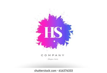 HS H S purple pink magenta splash grunge alphabet logo letter design creative vector icon template