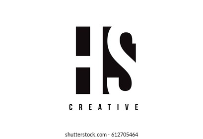 HS H S White Letter Logo Design with Black Square Vector Illustration Template.