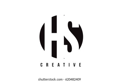 HS H S White Letter Logo Design with Circle Background Vector Illustration Template.