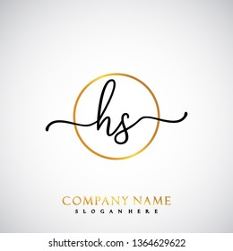 HS Initial Handwriting logo template vector
