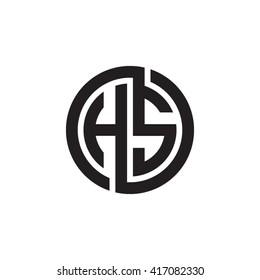 HS initial letters looping linked circle monogram logo