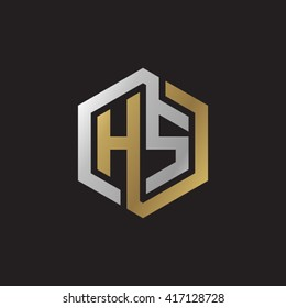 HS initial letters looping linked hexagon elegant logo golden silver black background