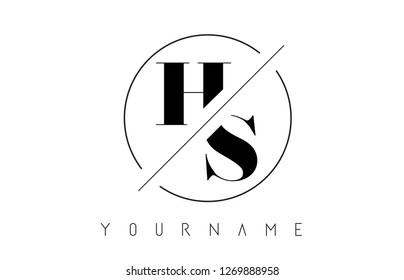 HS Letter Logo with Cutted and Intersected Design and Round Frame Vector Illustration