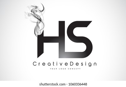 HS Letter Logo Design with Black Smoke. Creative Modern Smoke Letters Vector Icon Logo Illustration.