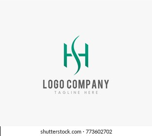 HS letter logo template, Creative simple elegant fashion brand connected black and white color HS initial based letter icon logo