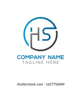 HS Logo Design Vector Template. Initial Linked Letter HS Vector Illustration