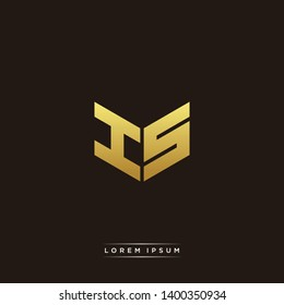 IS / HS Logo Letter Initial Logo Designs Templete with Gold and Black Background