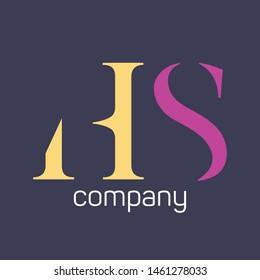 HS logo template. Monogram. Company logo.